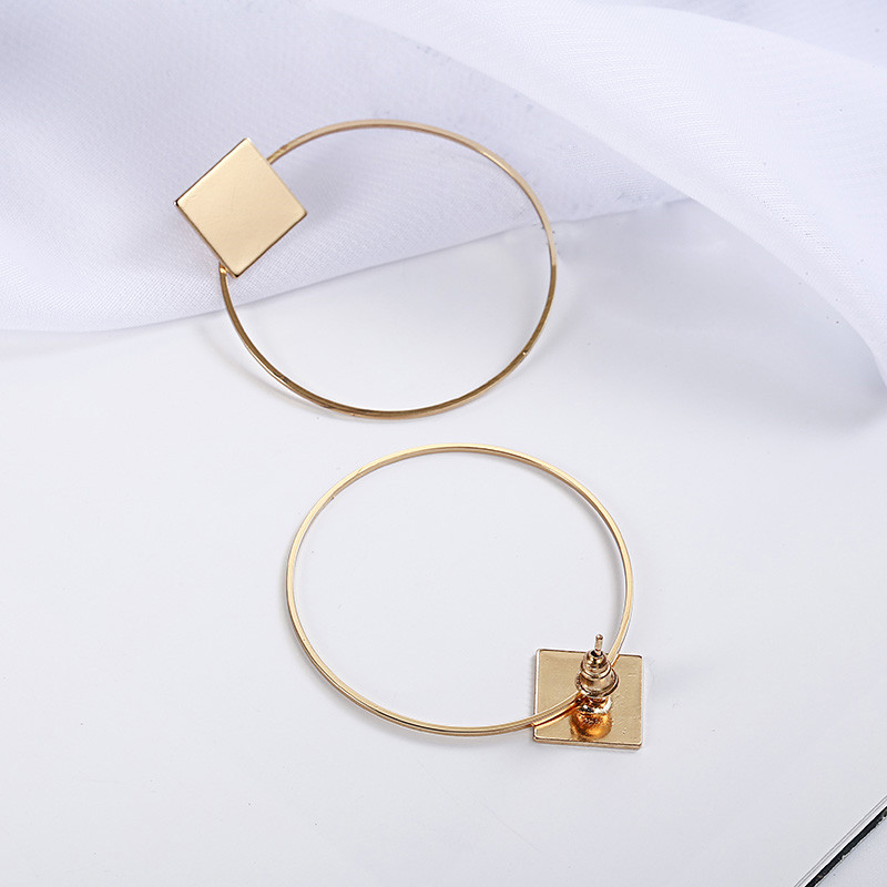 Simple Style Fashion Silver Gold Color Earrings for Women Square Round Geometric Hanging Earrings 18 Female Pendientes Jewelry 18