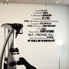 Fitness PVC Wall Decal Fitness Goals Motivation Gym It will Hurt worth it Lettering Wall Sticker