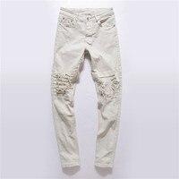 GMANCL Justin Bieber Biker Icon Designer Men Ripped Jeans White Black Destroyed Slim Denim Casual Skinny