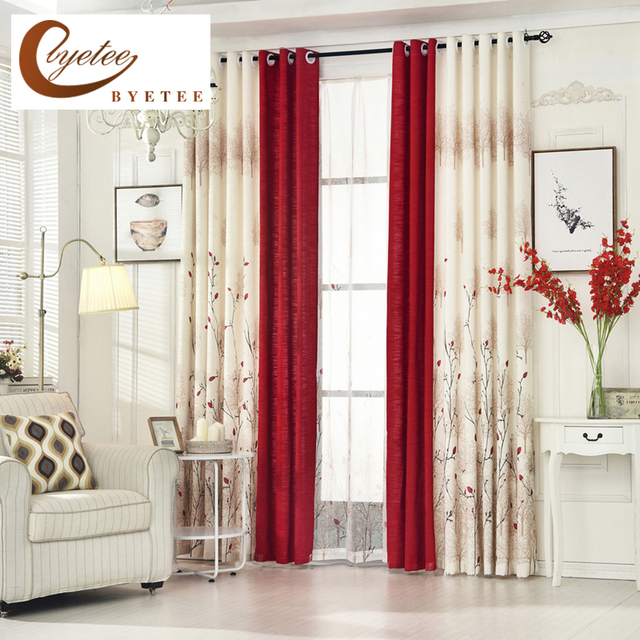 US $12.93 45% OFF|[byetee] Cotton Linen Livingroom Window Curtain Bedroom  Finished Fabrics Kitchen Blackout Curtains For Living Room Red Drapes-in ...