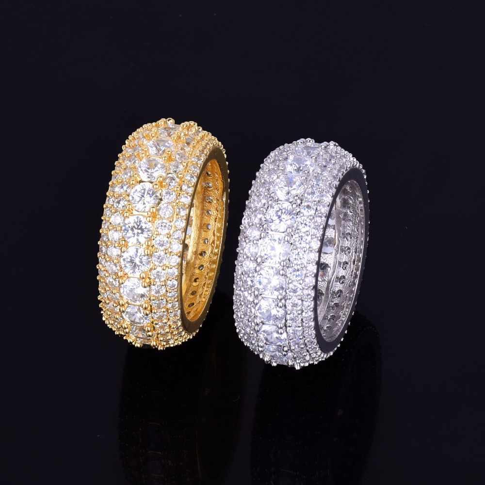 5 แถว CZ แหวนผู้ชาย 18 K ทองแดง Charm Silver Silver Cubic Zircon เย็นแหวนแฟชั่น Hip Hop เครื่องประดับ