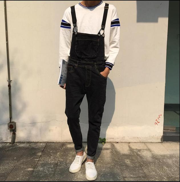 a74b995ec0c 2019 New Men denim bib pants fashion one piece spaghetti strap pants slim  denim trousers Casual