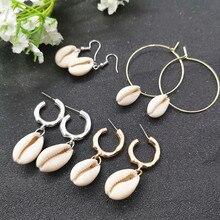 JCYMONG, новые серьги в виде раковины морского океана для женщин, золотые, серебряные, металлические массивные серьги, модные серьги-капли, пляжные ювелирные изделия