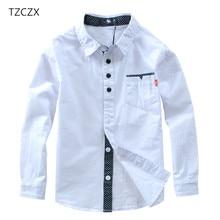 TZCZX/Лидер продаж; Детские рубашки из 100% хлопка в европейском и американском стиле; Однотонные Детские рубашки; Одежда для От 4 до 12 лет