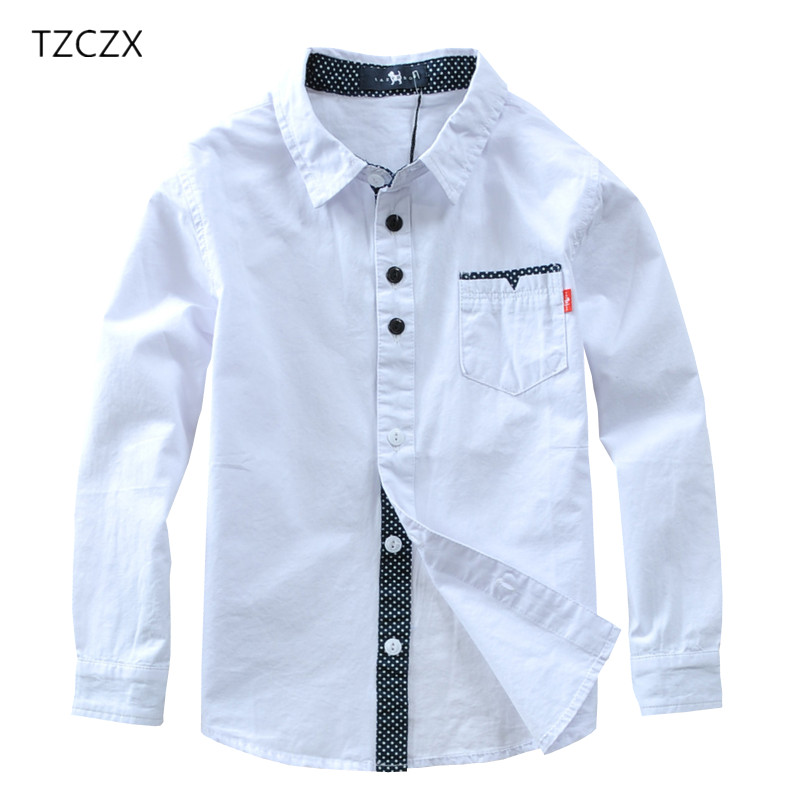 TZCZX Hot Sale Children Shirts European And American Style Cotton 100% Solid Kids Shirts Clothing For 4-12 Years Wear