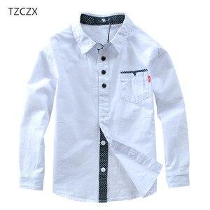 Image 1 - TZCZX sıcak satış çocuk gömlek avrupa ve amerikan tarzı pamuk 100% katı çocuklar gömlek giyim için 4 12 yıl giyim