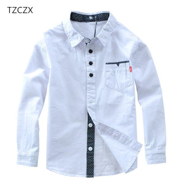 TZCZX sıcak satış çocuk gömlek avrupa ve amerikan tarzı pamuk 100% katı çocuklar gömlek giyim için 4 12 yıl giyim