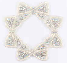 (60pcs lot)Factory Price Bows Shape Crystal Pearl AB Rhinestone Appliques  Patch Hot 5a7745298740