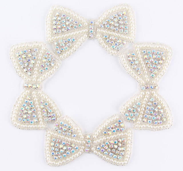 (60pcs lot)Factory Price Bows Shape Crystal Pearl AB Rhinestone Appliques  Patch Hot-Fix Beaded Dress Belt Sash Applique Patch 0f18c4279867