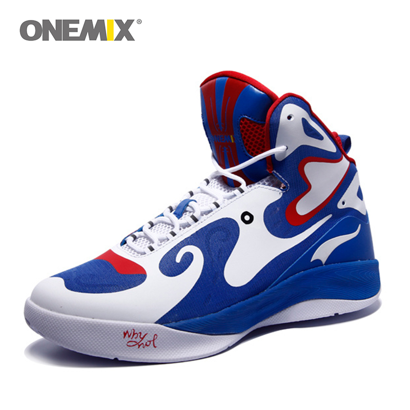 Onemix Basketball Shoes for Men Peking Opera Mask Ankle Boots Style Culture Breathable High-Top Rubber Leather sneaker plus size