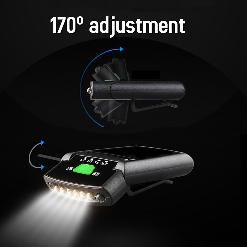 6*LED Headlamp IR Motion Sensor Headlight USB Rechargeable 170 degree adjustable Hat clip light Waterproof Lamp Cap