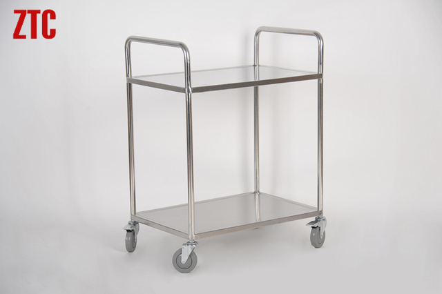 Double Shelf Lab Stainless Steel Platform Truck Metal Rolling Utility Trolley Small Flatbed Tool Cart On Wheels Rcs 0215