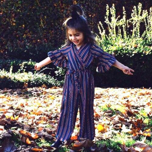 1-6 T Pasgeboren Zomer Fashion Vouge V-hals Gestreepte Half Bloemblaadje Mouw Baby Meisjes Streep Een-stukken Kleding Jumpsuit Bodysuit Romper