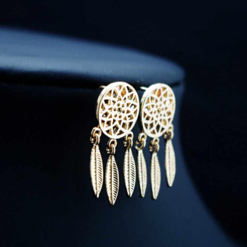Pendientes colgantes con diseño de cazador de sueños de plumas indias de estilo bohemio y dorado, joyería de alta calidad para mujer
