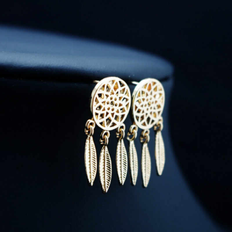 Silver Gold Bohemia Nationality Indian Feather Dream Catcher Dreamcatcher Drop Dangle Earrings For Women Jewelry High Quality