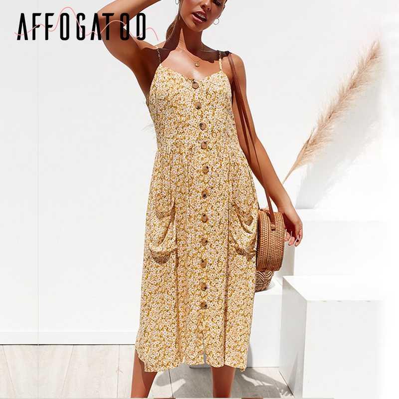 Afogafoo повседневное хлопковое женское платье с v-образным вырезом и пуговицами 2019 летнее платье на бретельках миди женское праздничное пляжное платье большого размера