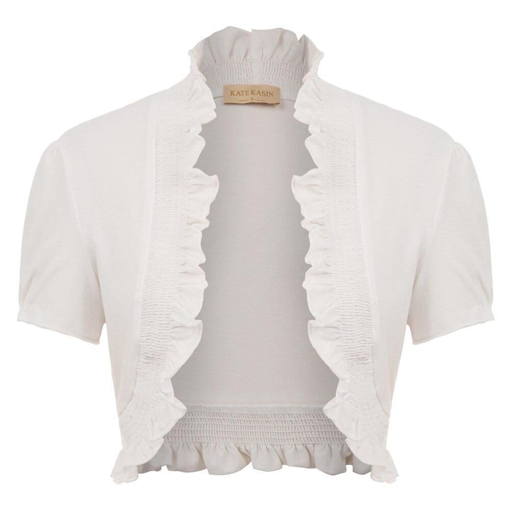 Women Short Sleeve Open Front Cotton Ruffled vintage royal Short cardigan jacket solid color black white