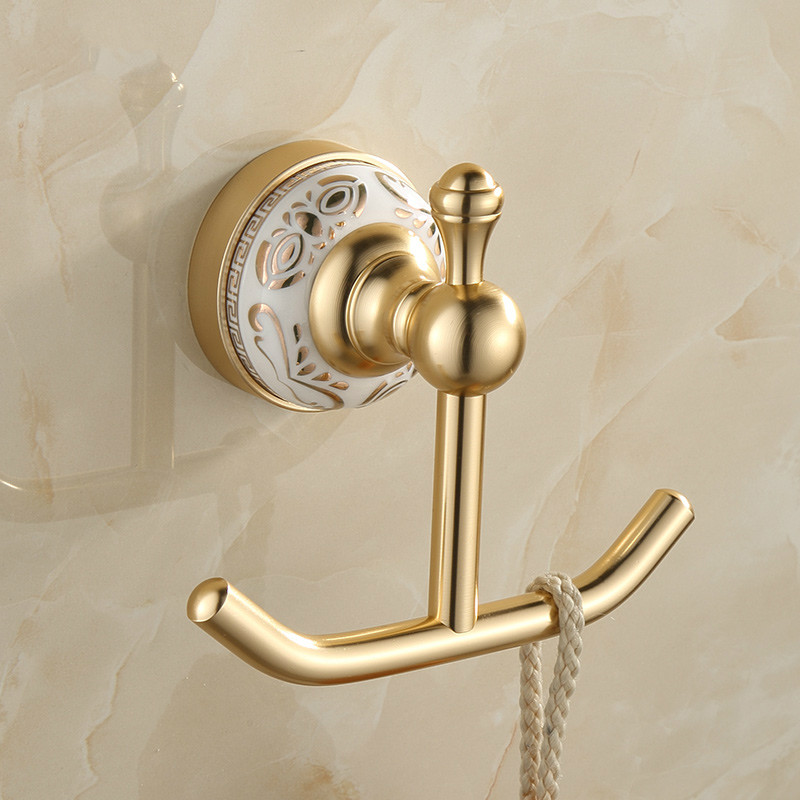 Antique brushed space aluminum robe hooks clothes hook ceramic base brushed coat robe hook for Ceramic towel hooks for bathrooms