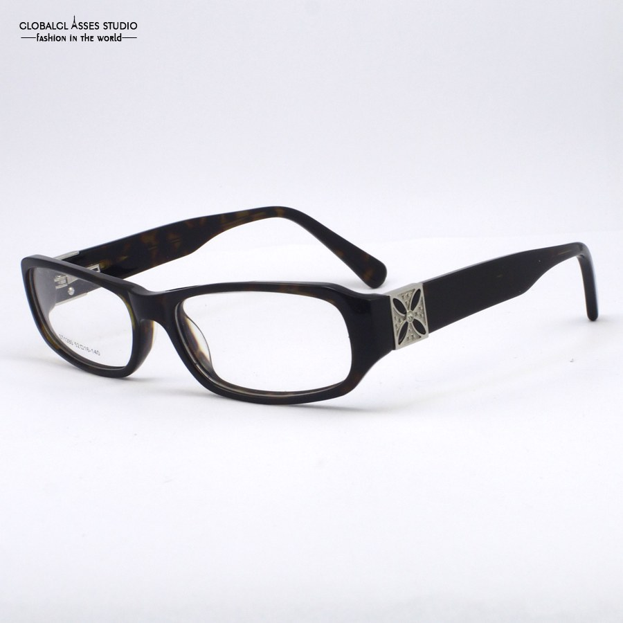 new women fashion unique demi black frame crystal pattern legs square frame optical glasseseyeglasses