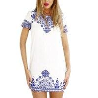 2017 New Summer Dress Sexy Vintage Floral Print Mini Dress Women Short Sleeve O Neck White