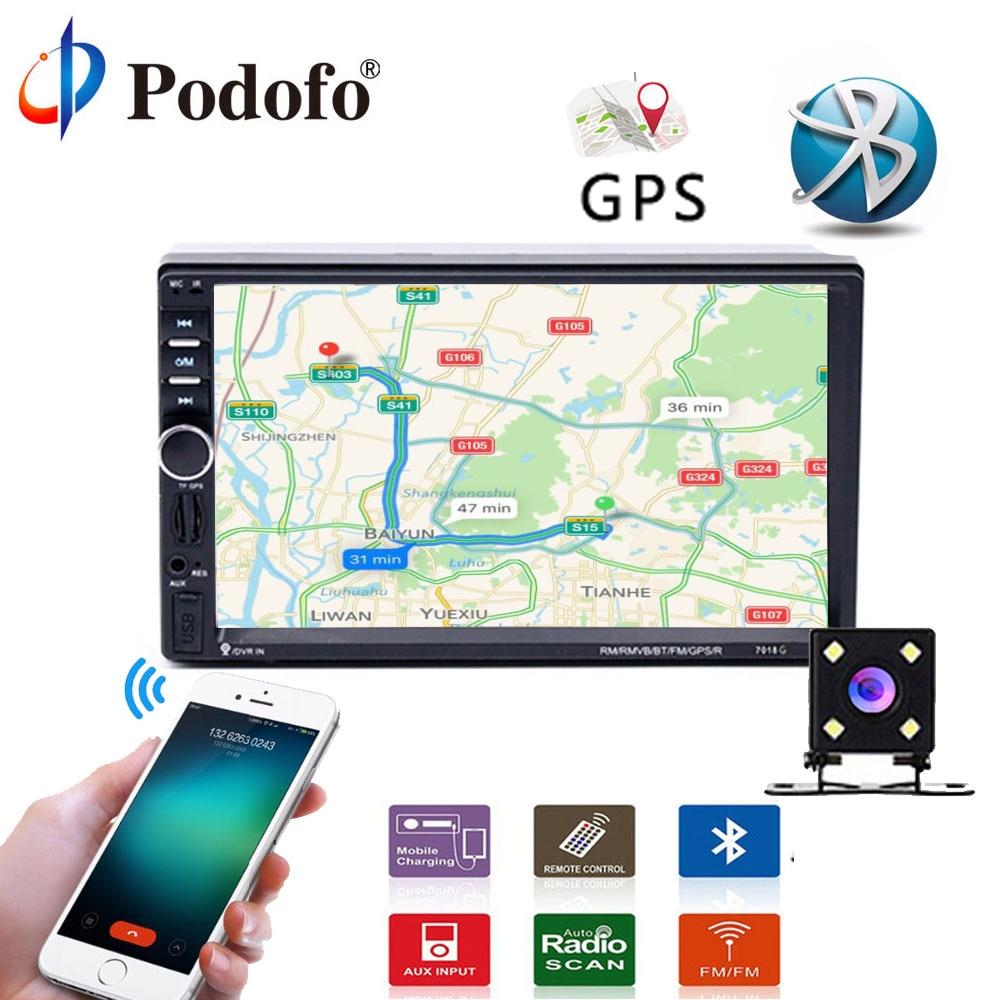 """Podofo Универсальный 7 """"Touch мультимедийный плеер GPS Навигация Аудио стерео 2 DIN DVD Автомагнитолы bluetooth fm MP5 заднего вида камера"""