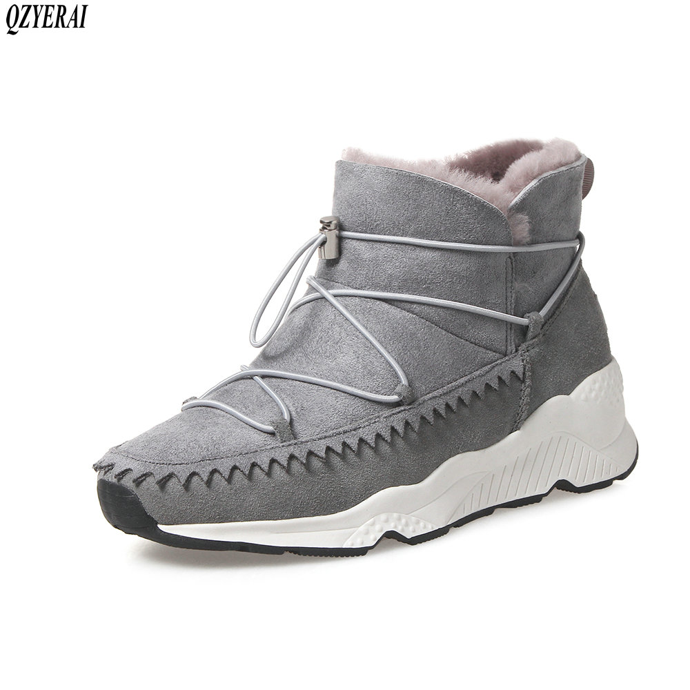 QZYERAI 2018 New fashion winter wool snow boots 100% cowhide production women's boots comfortable warm wool women's shoes gretel wool boots