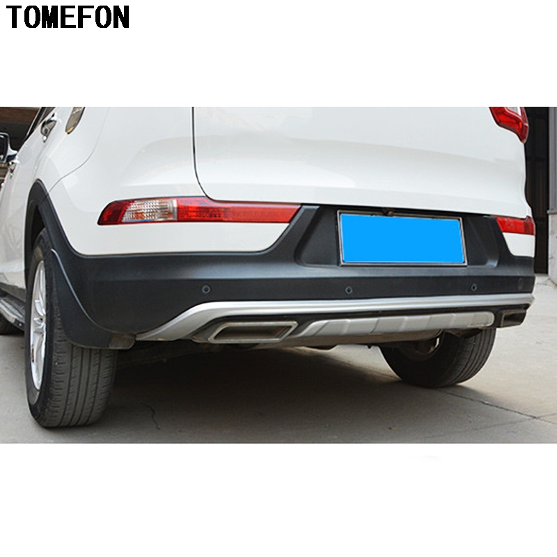 TOMEFON For Kia Sportage R 2010 2011 2012 2013 2014 ABS Chrome Front Rear Bumper Guard Protector Skid Plate Exterior Trim 2pcs