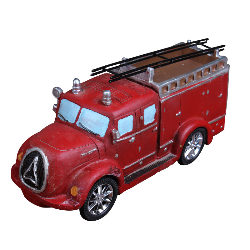 European Style Fire Car Decorative Artificial Figures Miniature Truck Model Craft for Home Ornaments Shop Window Prop Gifts
