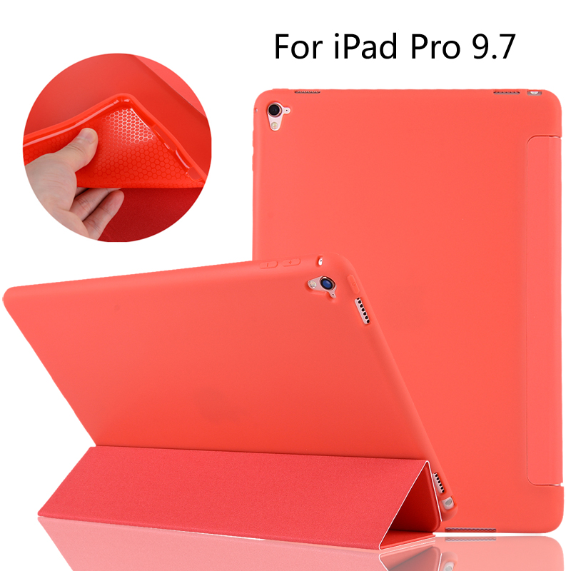For iPad Pro 9.7 A1673 A1674 A1675 High-quality case Cover Smart Slim Magnetic TPU Leather Stand Cases + Film + Stylus ...