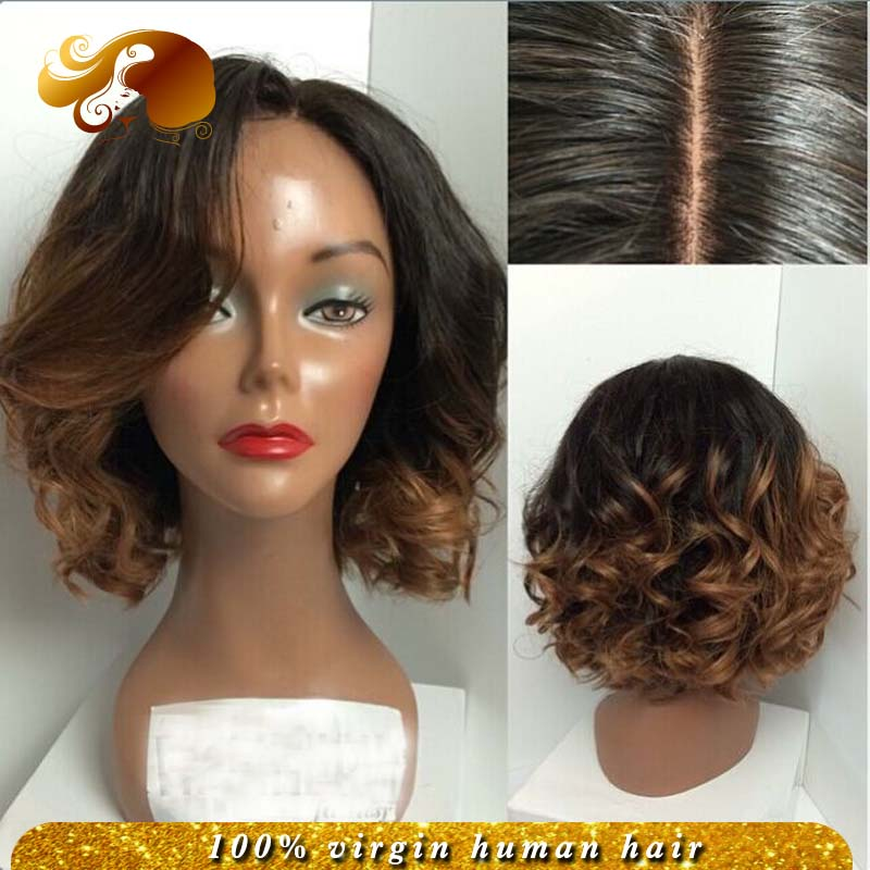 #1b/33 Two Tone Brazilian Virgin Hair Glueless Lace Front Wig With Baby Hair Side Part Full Lace Human Hair Wigs Bleached Knots