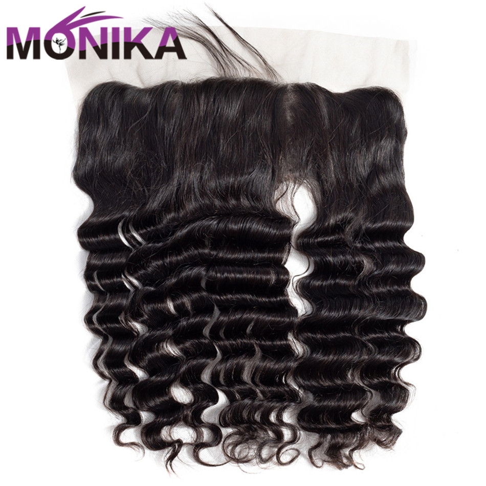 Monika Hair 13x4 Pre Plucked Lace Frontal Closure Brazilian Loose Deep Wave Non Remy Human Hair Closure Free/Middle Part Frontal