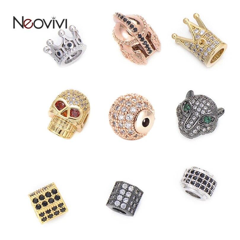Neovivi 5 Pcs Lot Tembaga Mahkota Manik Manik Tengkorak Helm Safety Leopard Spacer Cz Micro Pave Cubic Zirconia Manik Manik Konektor Untuk Membuat Perhiasan Beads Aliexpress