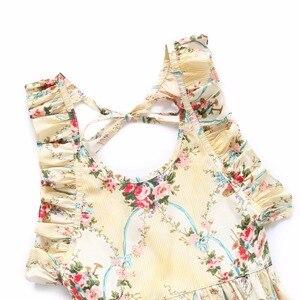 Image 3 - Flofallzique Marke Baumwolle Floral Druck Baby Mädchen Overall Sommer Strampler Outfits Elastische Taille Kleinkind Kinder Kleidung 1 6Yrs