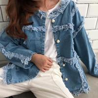 Loose pearl long sleeves denim jacket