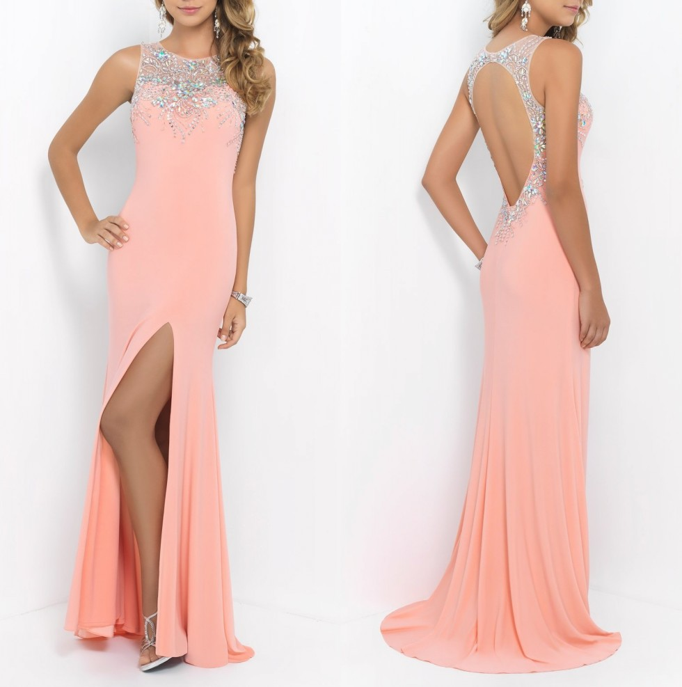 2019 Vestido Formal Women Chiffon with Beading Coral Pink Crystals Open Back New Arrival Long Prom   bridesmaid     Dresses