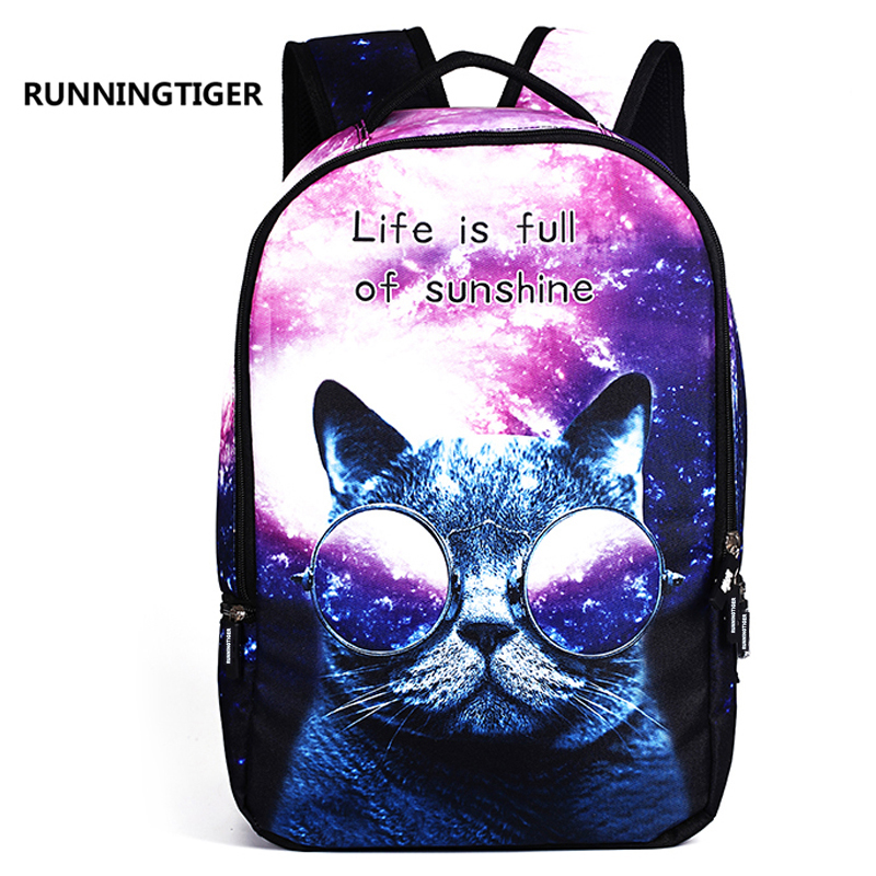 RUNNINGTIGER Women School Bag 3D Cartoon Cat School Ryggsekk Veske For Jenter Utskrift Ryggsekk Reise Ryggsekker