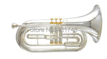 Marching Baritone in Silver plated 255mm Bell With Case EMS free shipping Brass Musical instruments