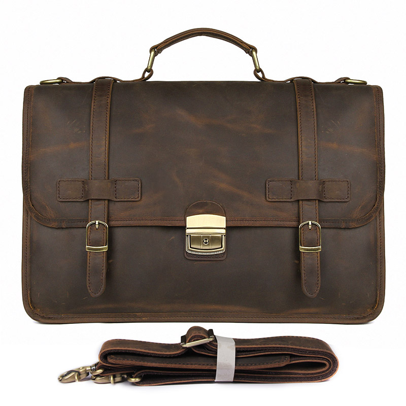 Crazy Horse Leather Retro Laptop Bag Casual Unisex Handbag Postman Briefcase Shoulder Bag Messenger Bag 7397-