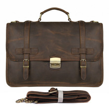 Crazy Horse Leather Retro Laptop Bag Casual Unisex Handbag Postman Briefcase Shoulder Bag Messenger bag 7397- man canvas with crazy horse luxury cowboy oil skin leather bags briefcases and male bag retro single shoulder bag messenger bag