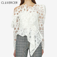Sexy Lace Top Women Hollow Out Off Shoulder Lace Blouse Elegant Long Sleeve Asymmetry White Womens Tops And Blouses