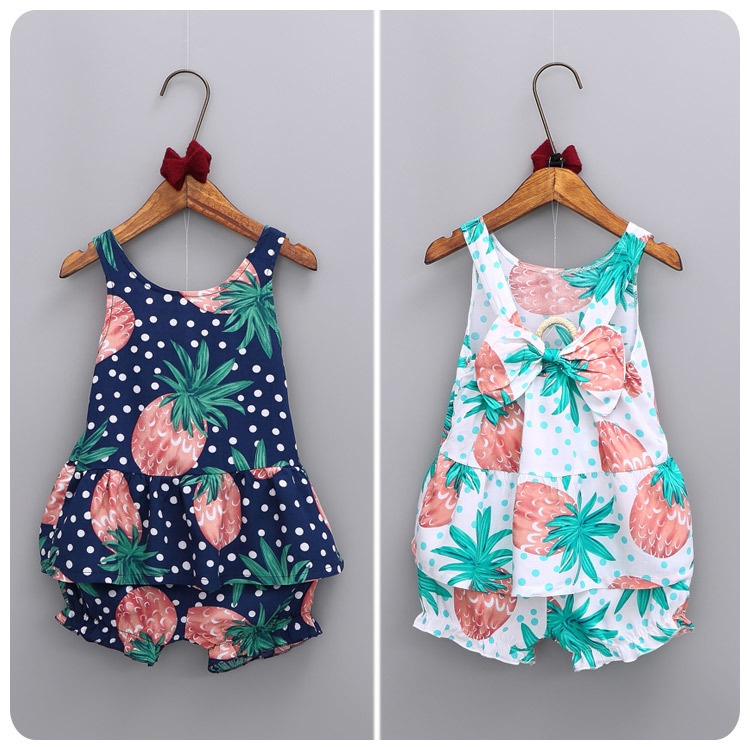 2016 Korean Children's Garment Girl Summer New Pattern Countryside Wind Pineapple Printing Vest T-Shirt Shorts You 2 Pieces Suit