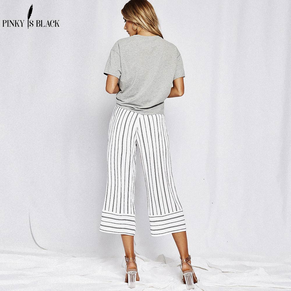 PinkyIsBlack Stripe split wide leg pants women bow tie sashes high waist trouser summer loose pants 2018 office female bottoms