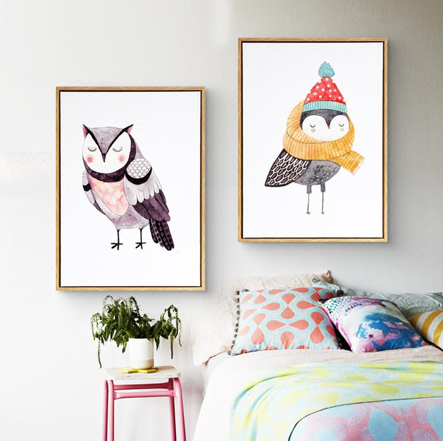 Cute Cartoon Animals Oil Paintings Owl Canvas Art DIY Posters Pop Art Wall  Art Paint By Number Nursery Kids Decor Posters
