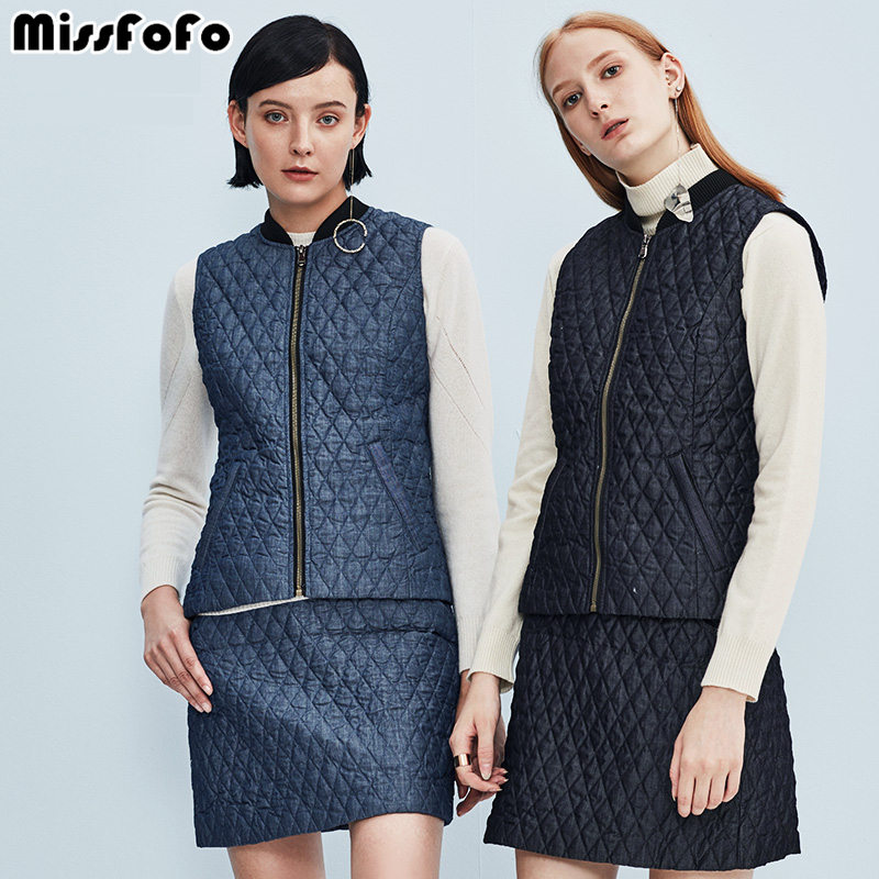 MissFoFo 2017 Women s Duck Down Jacket Slim Sleeveless Office Lady s Coat Zippers Good Women