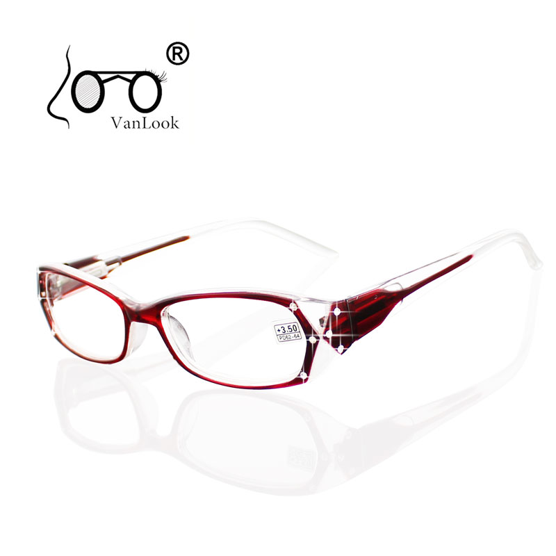 Okulary korekcyjne z kryształem górskim Kobiety Gafas de Lectura Oprawki okularowe Modne okulary +50 +75 100 125 150 175 200 250 300 350 400