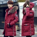 New 2016 winter fashion zipper design middle long cotton-padded jacket men trench coat with fur hooded thick parka hombre MDY4
