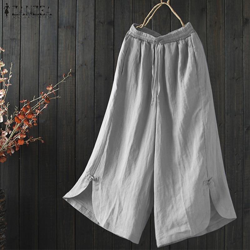 2019 Summer ZANZEA Women Elastic Wasit Pockets Casual Solid Cotton Linen   Wide     Leg     Pants   Trousers Loose Work Pantalon Plus Size