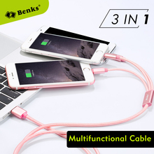 Benks Original 3A USB Cable for iPhone Samsung Xiaomi, 3 in 1 Durable Nylon Braided Tangle Free 120cm Data Sync Fast Charge Cord