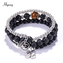 Natural Stone Yoga Beads Wrap Bracelet Bangle,Black Matte Lava Rock Aromatherapy Essential Oil Diffuser OM for Unisex