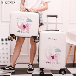 KLQDZMS Lovely 16/20/24Inch  Rolling Luggage Spinner Cartoon Password Suitcase Wheels Women Carry on Trolley Travel Bag